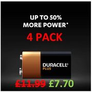 Duracell Plus 9V Alkaline Batteries - Ideal for Smoke Alarms etc. (4 PACK)