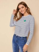 SHEIN Embroidery Detail Striped Top