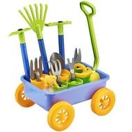 deAO Pull along Kids Wagon Wheelbarrow and Gardening Tools Play Set