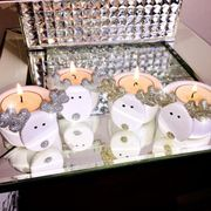 Lemonade Glitter Reindeer PAIR of Tealights Ideal for Christmas