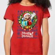 Super Mario Happy Mario Women's Christmas T-Shirt - Red BUY1GETONEFREE