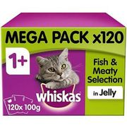 120 X 100g Whiskas 1+ Adult Cat Food Pouches Mixed Fish & Meaty in Jelly