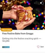 Free Festive Bake from Greggs with VeryMe Rewards App from Vodafone