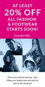 At Least 20% off Fashion and Footwear