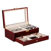 Wooden Watch Storage Box Organizer Jewellery Glasses with Glass Lid Mens