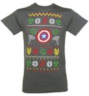 Men's Charcoal Marl Marvel Characters Symbols Fair Isle Knit Design T-Shirt