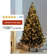 6ft (1.8m) Victorian Pine Pre-Lit Christmas Tree with 400 Warm White Lights