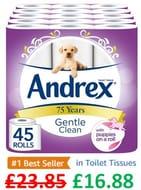 45 Andrex Gentle Clean Toilet Rolls - AMAZON #1 BEST SELLER
