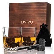 Stylish Whisky Stones with 2 Glasses Wooden Set