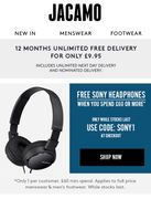 Free Sony Headphones When You Spend £60 or More at Jacamo