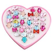24 Little Girls Adjustable Rings with Heart Shaped Pink Box