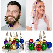 12 Beard & Hair Baubles Christmas Decoration for Men Women