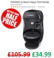 Bosch TASSIMO Happy TAS1002GB Coffee Machine - Black