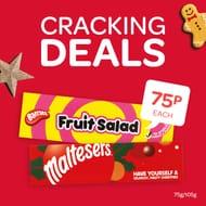 Maltesers, Minstrels, Fruit Salad, Wham Large Christmas Tubes
