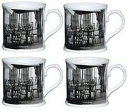 Set of 4 Mugs - KitchenCraft Porcelain Cafe Tree Tankard Shaped Mug