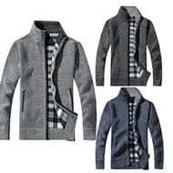 Meihet Men Sweater CoatCasual Stand Collar Long Sleeve Solid Warm Zipper
