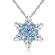1 Pcs Silver Crystal Snowflake Pendant Necklace