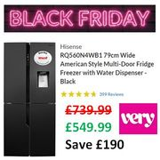 VERY BLACK FRIDAY DEAL Hisense American Style Fridge Freezer W/ Water Dispenser