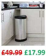 SAVE £32 TODAY! Curver One Touch Deco Kitchen Bin, Silver, 40 Litre