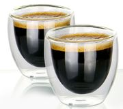 Double Walled Insulated Tea & Coffee Glasses M&W Set of 2 - 80ml Only £4