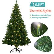 6.5ft Christmas Tree with 320 LED Lights on 720 branches, plus free Decorations