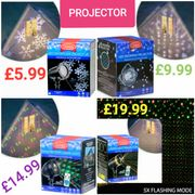 4 Christmas Projector Lights Available from £5.99 - £19.99.