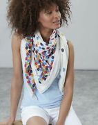 Joules Womens Atmore Printed Square Scarf in CREAM SPOTS in One Size