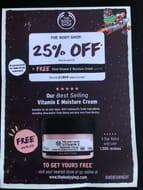 The Body Shop 25% off + Free 50ml Vit E Cream