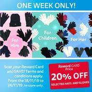 QD Reward Cardholders - 20% off Hats & Gloves