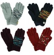 Regatta Womens Frosty Iii Winter Gloves Acrylic Knitted Blue Grey Red