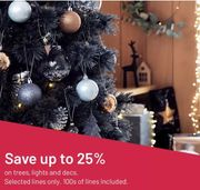 25% off Christmas Tree's, Lights, Decorations, Garlands & Wreaths