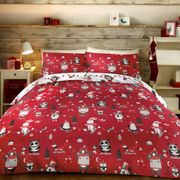 55% off Christmas Party Double Duvet Cover Set, Red