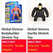 2 for £10 on These Global Gizmos Stretch Toys.