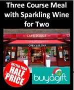 CAFE ROUGE Three Course Meal with Sparkling Wine for Two - SAVE £32