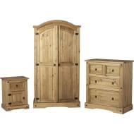 *SAVE £28* Corona Distressed Waxed Pine Bedroom Furniture Trio
