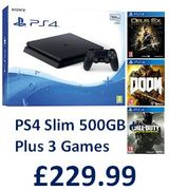PS4 Slim 500GB Console + 3 Games