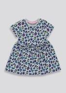 Girls Grey Short Sleeve Leopard Print Dress (9mths-6yrs)