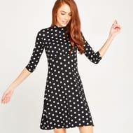 Cream High Neck Polkadot Dress