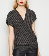 Black Glitter Stripe Wrap Top