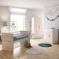 Little Acorns Oxford Cot Bed 5 Piece Nursery Room Set with Foam Mattress