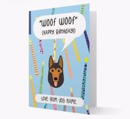Personalised 'Woof Woof' German Shepherd Birthday Card