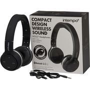 Intempo Compact Design Wireless Bluetooth Headphones Black