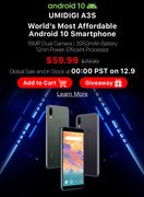 UMIDIGI A3S Android 10 Smartphone £46 Available 9/12