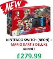 NEW BUNDLE! Nintendo Switch (Neon Blue/Neon Red) Mario Kart 8 Deluxe