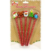 Christmas Pencils with Eraser Toppers (5 Pack) Just 75p with Code