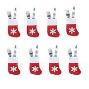 8pcs Xmas Cutlery Suit Decor Table Dinner Pockets Knifes Forks Christmas Party
