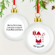 Personalised Christmas Bauble - Ceramic - Santa Design