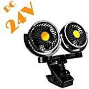 Dual Head Electric Car Cooling Fan with Clip