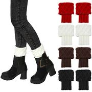 4 Pairs Fashion Rhomboids Women Leg Warmer Socks Crochet Knitted Boots Socks