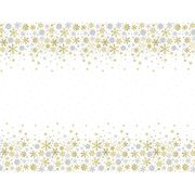 Plastic Silver and Gold Snowflakes Christmas Tablecloth, 7ft X 4.5ft